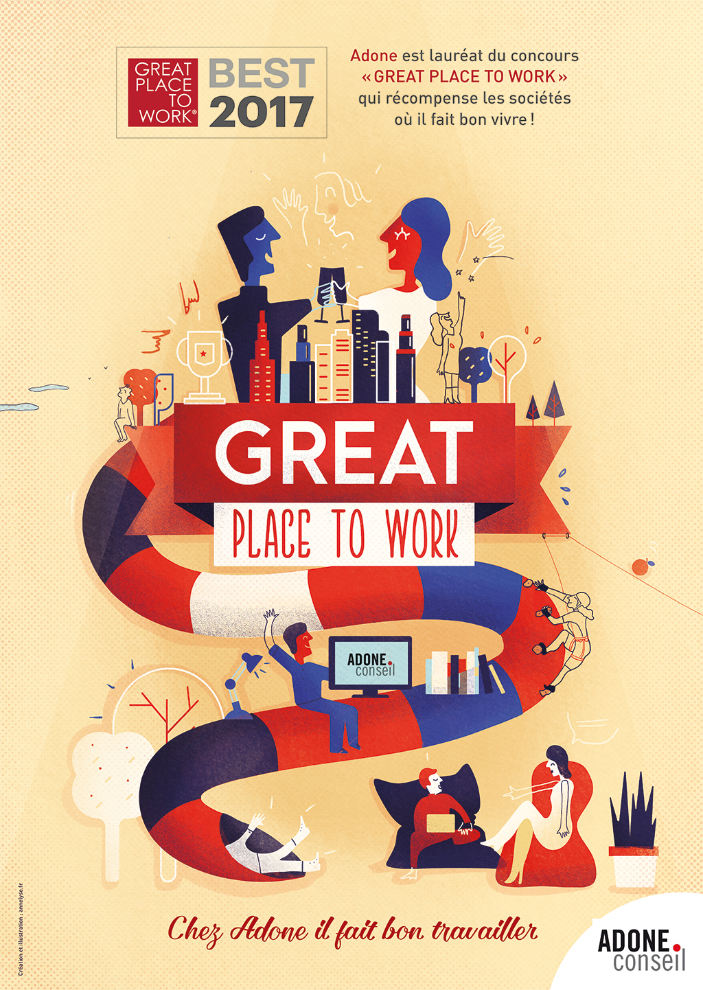 Affiche GREAT PLACE TO WORK Adone Conseil
